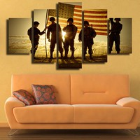 MILITARY SOLDIERS at sunset Wall Art Print on Canvas