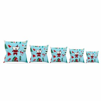 "bruxamagica ""Cute Santa Cat Blue"" Blue Red Animals Holiday Illustration Throw Pillow"