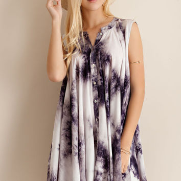 Tie Dye Flare Shirt Dress - Navy