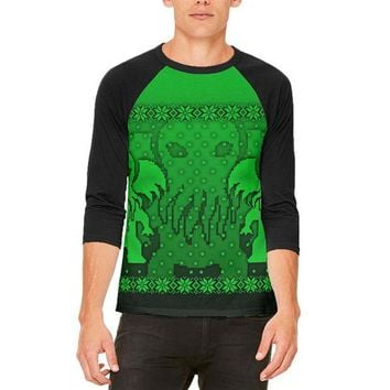 DCCKU3R Ugly Christmas Sweater Big Cthulhu Greater Gods Mens Raglan T Shirt