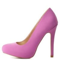 Round Toe Mini-Platform Pumps by Charlotte Russe