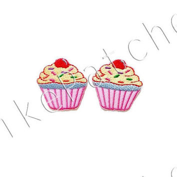 Set 2pcs. Pink Cupcake New Sew / Iron On Patch Embroidered Applique Size 3.1cm.x3.1cm.