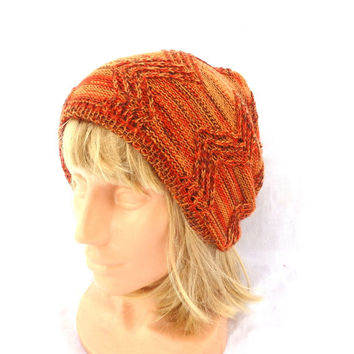 Knitted orange hat, knit wool colorful beanie, knitting adult cloche, women men cap, multicolor winter hat, handmade accessories, cable tam