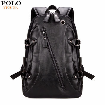 VICUNA POLO High Quality Practical PU Leather Mens Backpack Famous Brand Casual Men Laptop Backpack Black School Travel Backpack