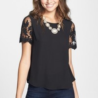Lush Lace Sleeve Woven Top (Juniors) | Nordstrom