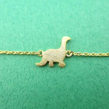 Long Neck Dinosaur Sauropoda Silhouette Shaped Charm Bracelet in Gold
