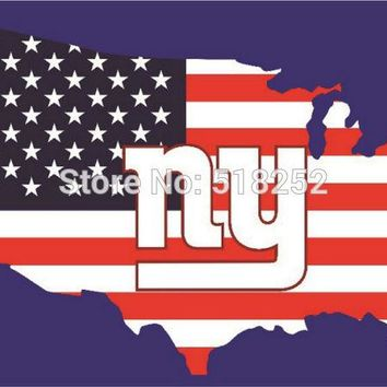 New York Giants with American map Flag  3x5 FT 150X90CM NFL Banner 100D Polyester Custom flag grommets 6038, free shipping