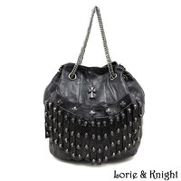 Womens Real Lambskin Leather Gothic Punk Skull Stud Bucket Bag Fashion Chain Single Shoulder/Cross Body Bag