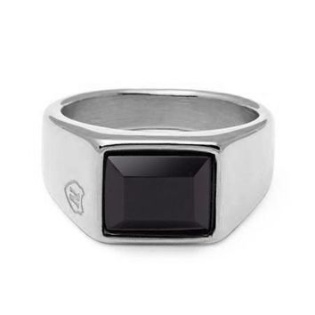 Men's Silver Squared Signet Ring with Onyx