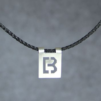 Silver Personalized cutout square modern intial monogram leather necklace Bridesmaids gifts Free US Shipping handmade Anni Designs
