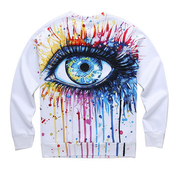 Classic model men/women 3d sweatshirt funny print colorful crying eyes autumn winter thin style casu