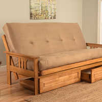 Andover Futon Frame and Drawer Set in Light Honey Oak Wood, Suede Innerspring Mattress, Peat