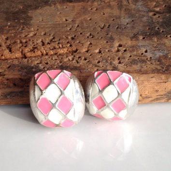 Etsy, Etsy Jewelry, Enamel Earrings, Pink and White Enamel, Base Metal, Clip On Earrings, Vintage Earrings