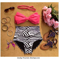 Ava Bow Retro High Waist Swimsuit w/ straps (Red Top and Zebra Print Bottom) S M L XL