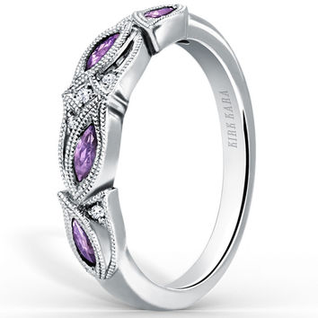"Kirk Kara ""Dahlia"" Purple Amethyst Marquise Leaf Shaped Wedding Band"