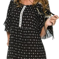 SWELL ANGULAR PRINTED BABY DOLL DRESS