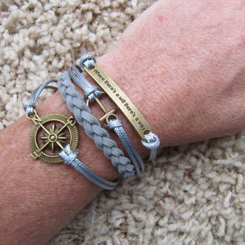 Made in the USA - Where there's a will there's a way, anchor, compass and Karma Infinity  Grey Friendship Bracelet