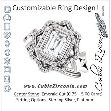 Cubic Zirconia Engagement Ring- The Cyra (Customizable Cathedral-bezel Emerald Cut Design with Floral Double Halo and Channel-Accented Split Band)