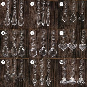 10pcs Acrylic Crystal Beads Drop Shape Garland Chandelier Hanging Party Decor Wedding Decoration Centerpieces For Tables