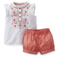 Sweet Apricot 2-Piece Woven Top and Bubble Short Set