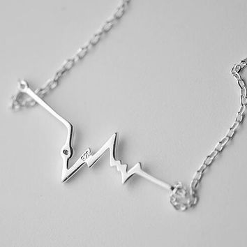 Shuangshuo 2017 New Fashion Silver Color HeartBeat Charm Necklace for Women Delicate Minimalist ECG Necklace Wedding Gifts