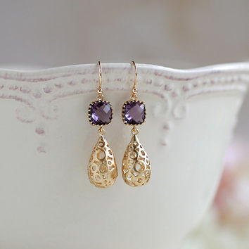 Amethyst Purple Dangle Earrings,Gold Hollow Puffy Teardrop Filigree Earrings, Purple Drop Earrings,