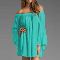 Blue Off-shoulder Ruffled Chiffon Long Sleeve Shift Mini Dress