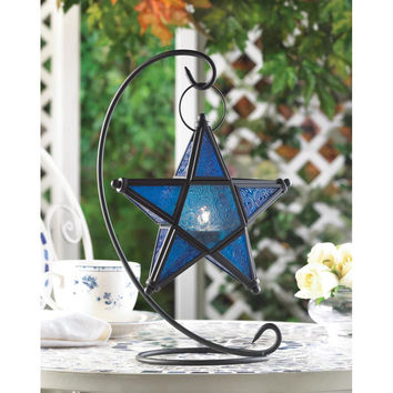 Candle Lantern-Black Star Color Glass Tabletop 2 Colors
