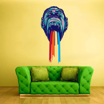 Full Color Wall Decal Mural Sticker Decor Art Poster Rainbow Gorilla Monkey Head (col341)