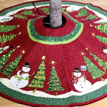 Christmas Tree Skirt  Whimsical Quilted Snowman  Ready to Ship CIJ