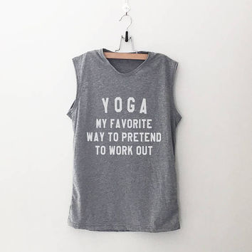 Funny yoga shirt workout women tank running fitness muscle tank top womens funny sayings slogan activewear training gym tank work out