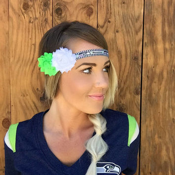 Seattle Seahawks Headband Grey Blue White Lime Green Band Super Bowl Sea Hawks Shabby Chic Flower Fashion Navy Hair Football Women Girl Cute