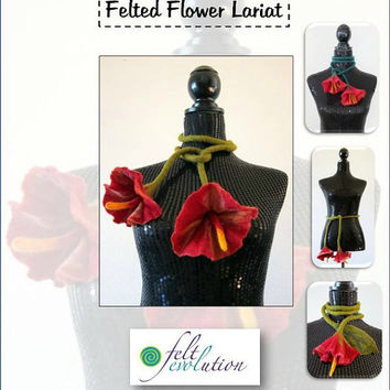 Bloomin' Lovely Felted Flower Lariat Scarf Instructions, felting pattern, craft pdf tutorial, wet felting tutorial, felted scarf,how to felt