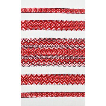 "Ukrainian woven fabric ""Red ornament"" by yard."