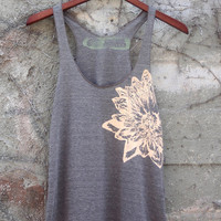 Cocoa and Pale Nude Lotus Tri-Blend Racerback Tank Top