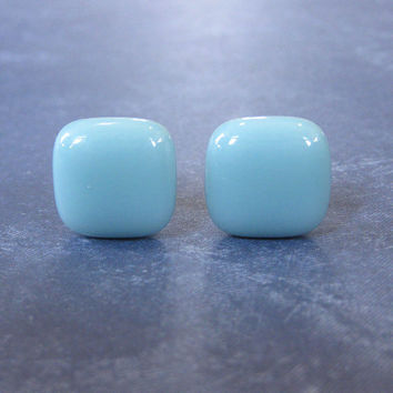 Pastel Blue Earrrings, Post Earrings, Hypoallergenic, Fused Glass Jewelry - Bashful Blue - 1727 -3