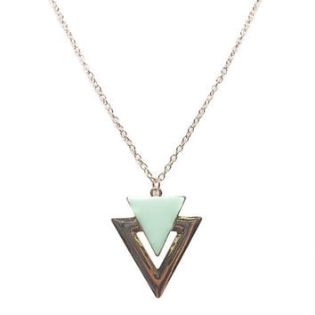 Cutout Epoxy Triangle Necklace | Wet Seal