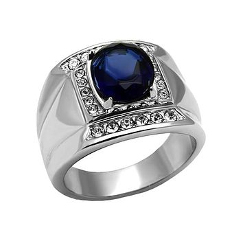 Frederic In Blue - Men's Stainless Steel Ring With Synthetic Montana Blue Stone