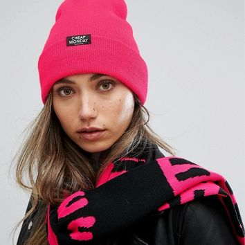 Cheap Monday Ribbed Knit Beanie with Patch Logo at asos.com