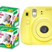 New Model Fuji Instax 8 Color Yellow Fujifilm Instax Mini 8 Instant Camera + 100 Films