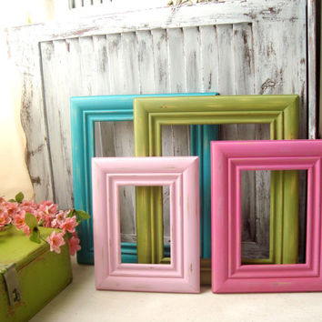 Colorful Set of Picture Frames with Glass and Backing, Pink, Green and Aqua Distressed Frames, Set of 4 Nursery Frames, Shabby Chic Frames
