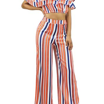 Colorful Striped Off Shoulder Top High Waist Palazzo Pants 2 Pcs Set EDD1807
