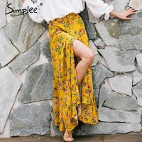 PEAPDZ2 Simplee Boho style floral print long skirts womens bottoms 2017summer beach maxi skirt Elastic vintage chic sexy skirt female