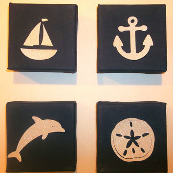 4x4 Canvas Hand Painted Navy Canvas With by OhSweetWilliam on Etsy