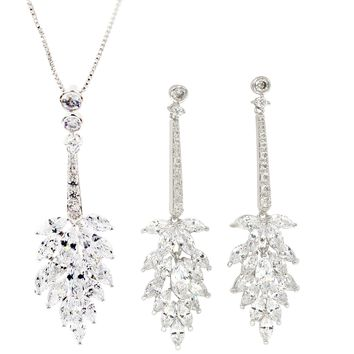 fashion crystal tassel silver necklace earring set
