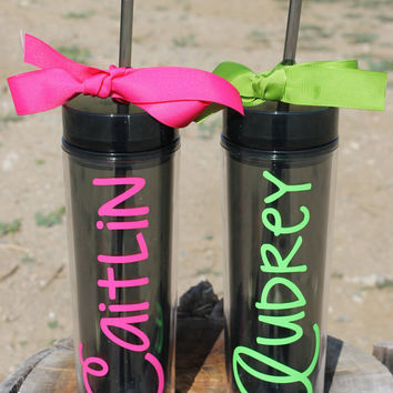 Set of 2 Tall Skinny Smoked Personalized Tumblers - Super Cute - Choose Fonts and Colors - Great Gift - Ribbon and Polka Dots Added