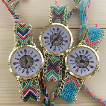 Feather Dream Handmade Weaving Strap Watch