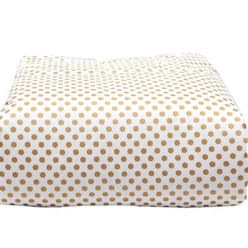 Toddler Blanket (Metallic Gold Dots) - Minky Backing - Box Quilted - White Trim ...