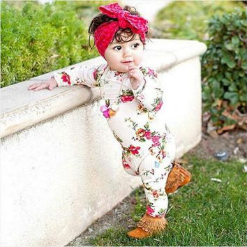 Autumn Winter Warm Floral Baby Girls Pajamas Romper Newborn Baby Girl Floral Long Sleeve Body suit Romper Jumpsuit Outfits 0-24M