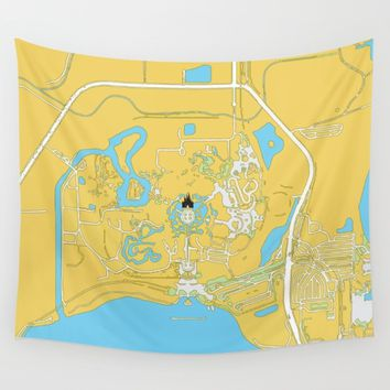 Magic Kingdom Map Wall Tapestry by studiomarshallarts